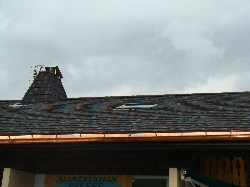 tiled roof and copper gutter